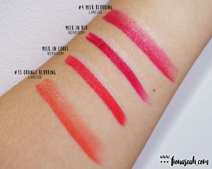 Swatch comparison for Milk in Coral and Milk in Red