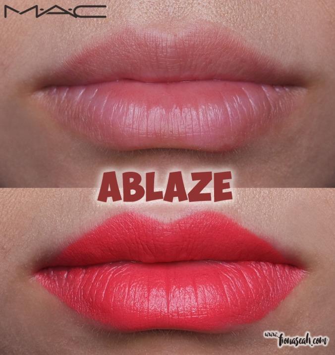 M.A.C Blue Nectar lipstick in Ablaze