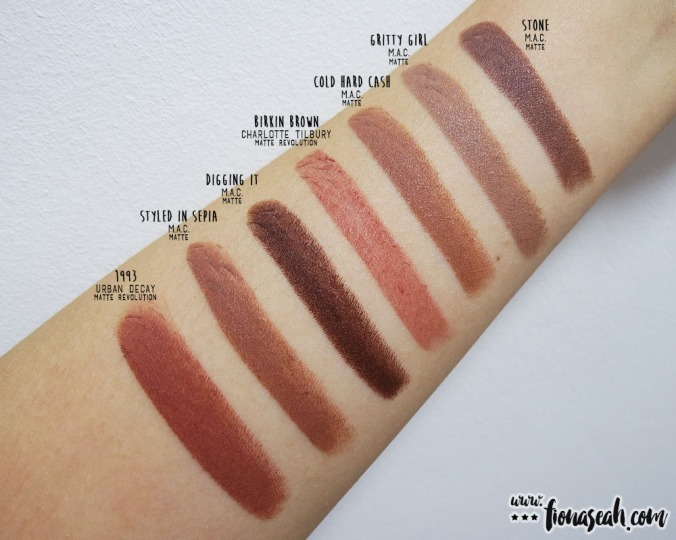 Charlotte Tilbury Birkin Brown - swatch comparison with other browns I have