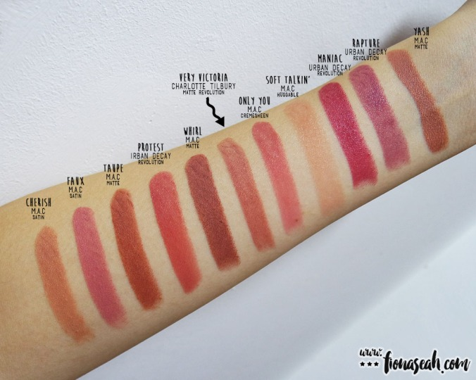 Charlotte Tilbury Very Victoria - swatch comparison with other muted browns/nudes I have