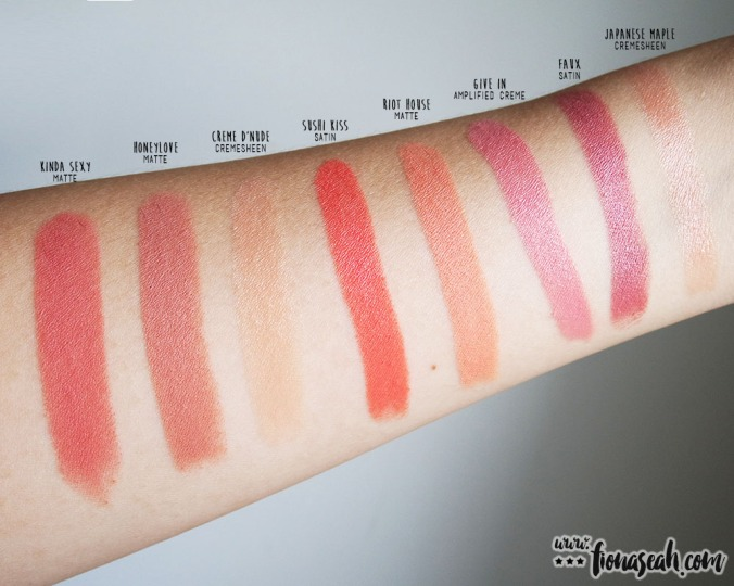 Swatch comparison for Give In and Riot House