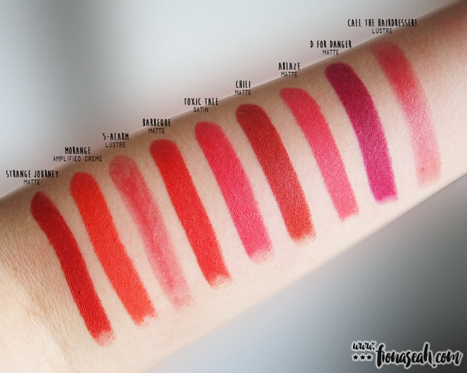 Swatch comparison for Ablaze and Barbeque