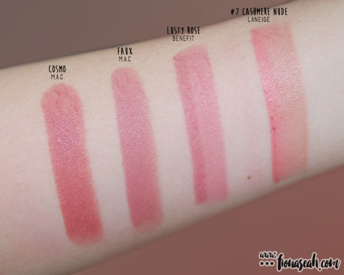 they're real BIG sexy lipstick set - Lusty Rose - swatch comparison with similar shade from other brands