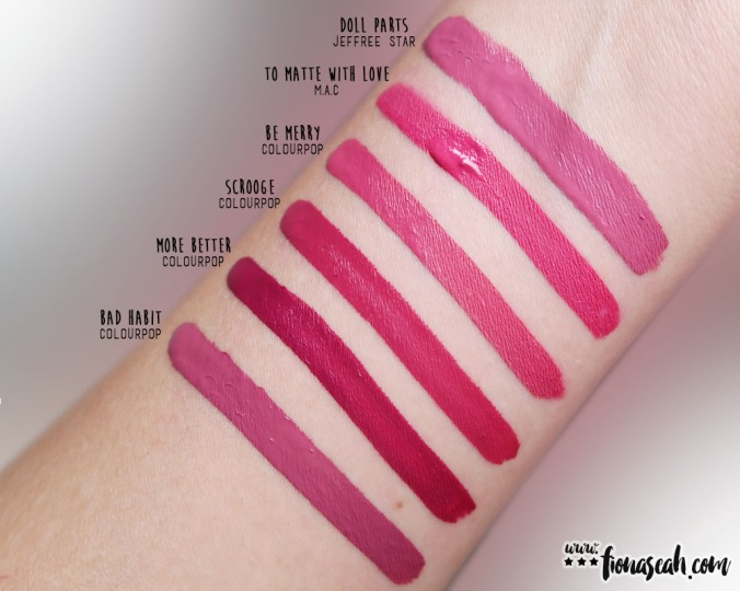 M·A·C Retro Matte Liquid Lipcolour in To Matte With Love - swatch comparison