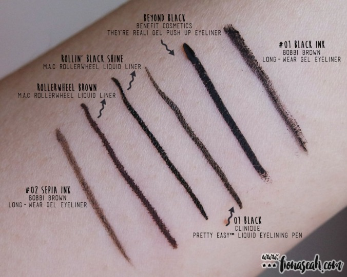 Compare the finish and pigmentation with other eyeliners I have. In terms of longevity, and pigmentation, Benefit's still wins hands-down. It takes 5 times more effort to remove the Benefit eyeliner