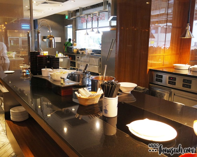 This is where the chef takes orders from buffet-goers and prepares the food on the spot