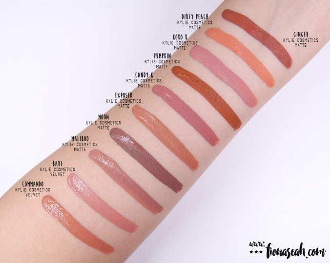 Kylie Cosmetics Send Me More Nudes Velvet Liquid Lipstick - swatch comparison for Commando & Bare. Also, separated at birth are Bare, Koko K and Candy K