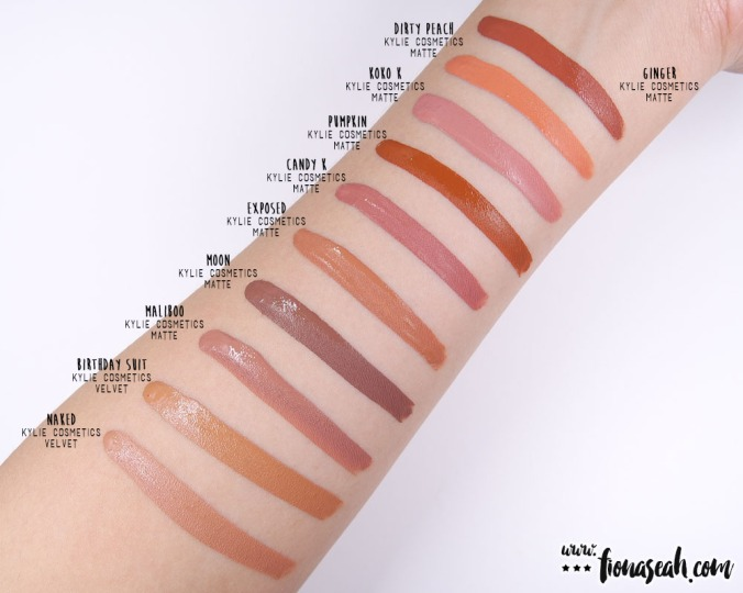 Kylie Cosmetics Send Me More Nudes Velvet Liquid Lipstick - swatch comparison for Naked & Birthday Suit