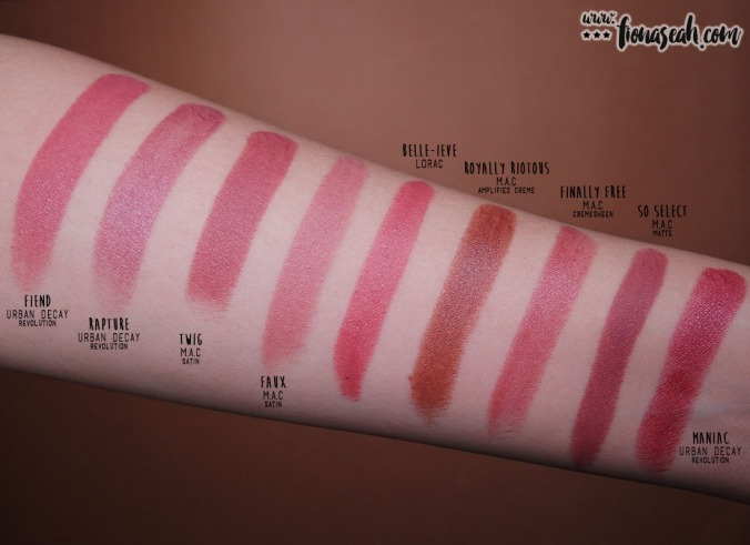 LORAC Cosmetics × Disney Beauty and the Beast Lipstick Collection - Belle-ieve - swatch comparison