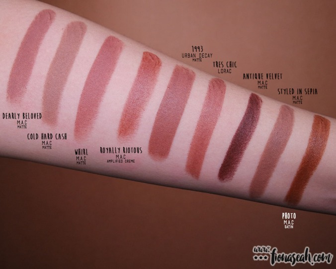 LORAC Cosmetics × Disney Beauty and the Beast Lipstick Collection - Très Chic - swatch comparison