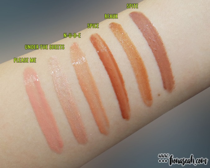 M∙A∙C × Nicki Minaj - Lipglass swatches