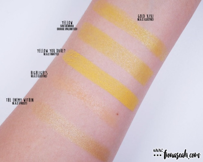 shu uemura Rouge Unlimited lipstick in Yellow - swatch comparison: Yellow is quite comparable to M·A·C's Gold XIXI, but has less shimmers