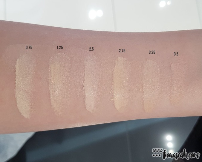 All 6 shades swatched (using fingers). The shades 2.5, 3.25 and 3.5 of Naked Skin Glow Cushion correspond with those of Weightless Ultra Definition Liquid Makeup