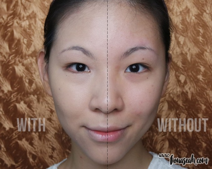Side-by-side comparison: with and without foundation