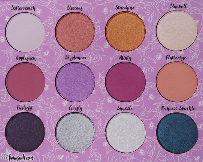 ColourPop × My Little Pony Pressed Powder Shadow Palette - all shades and their names, for your convenience