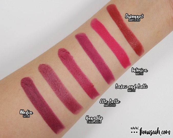 Swatch comparison for Elle Belle