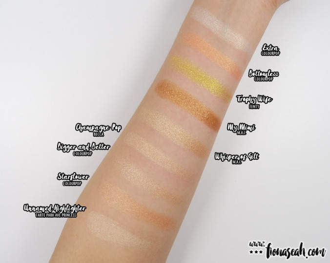 Swatch comparison for Trophy Wife (from my Whisper of Gilt review)