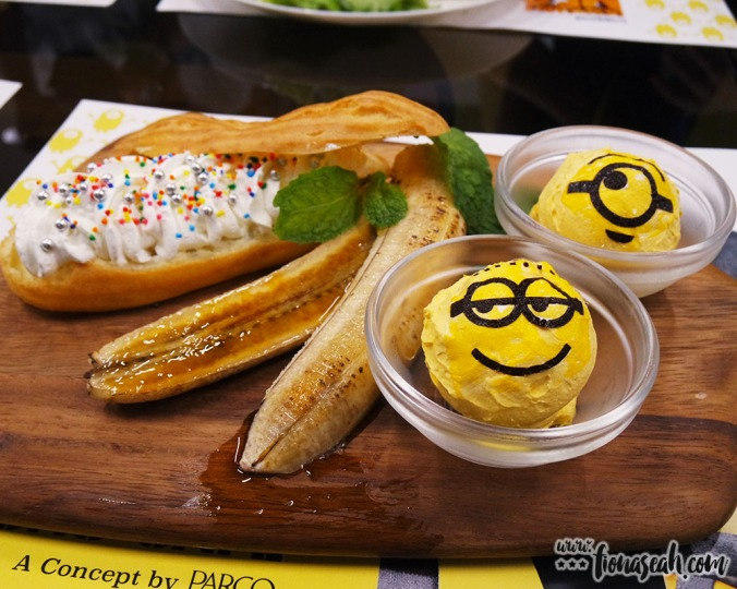 Minion's favourite food... Banana! Torched lightly to create a smoky caramelized taste. No wonder the Minions want some too!