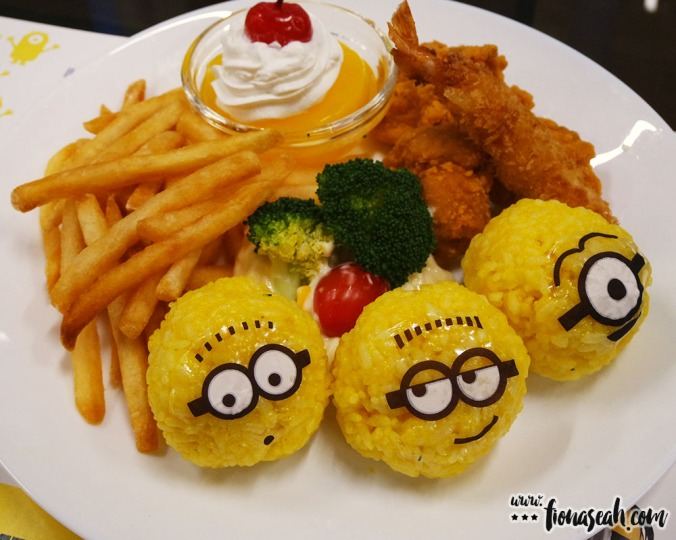 Straight from Japan, Minions transform into adorable rice balls, flanked by fried prawns, sweet corn, fried chicken and French fries with original Minions Balloon.