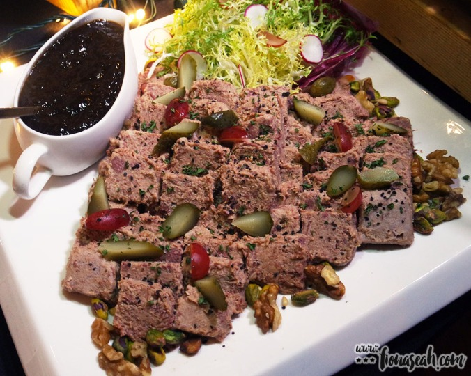 Marinated Duck Rilette with Red Wine, Dried Fruits and Gherkin Salsa