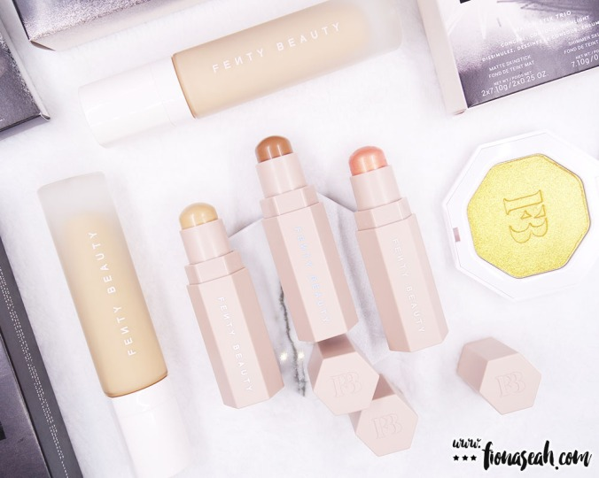 But before we go into the reviews, let's take a minute to appreciate the original, clean-cut, no-nonsense, hexagonal packaging of Fenty Beauty. The design is truly an eye-pleaser. They tessellate with one another so it is very easy to store them. And the foundation looks really prestigious with the glass bottle.