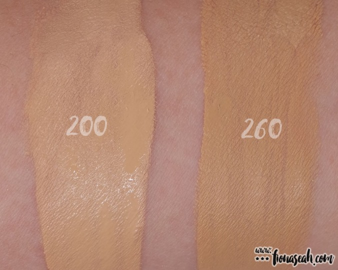 Comparing swatches of 200 and 260