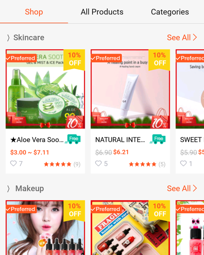 Some products available on the app