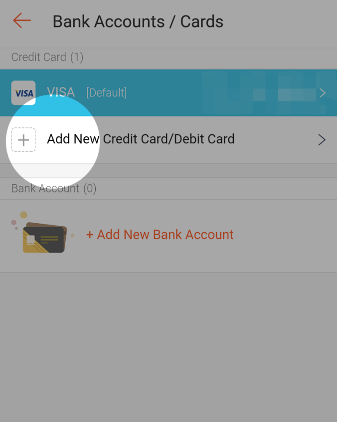 Then, tap on 'Add New Credit Card/Debit Card'