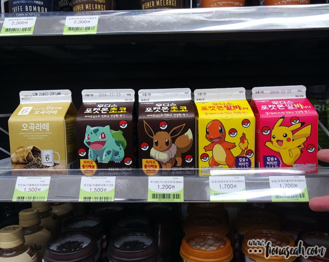 Pokémon milk cartons in the Eland Cruise convenience store! (PokémonGO wasn't launched in Korea yet at that point in time 😫)