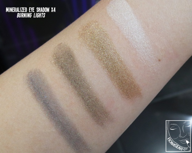 Swatches for Burning Lights eye shadow quad (those of Golden Shine will be shown later in the review). I was initially planning to get this but the blue really disappointed me. The colour when swatched was nowhere near the vibrant blue on the palette (it actually looks like grey?) and it had a messy, talc-like consistency. Nope.