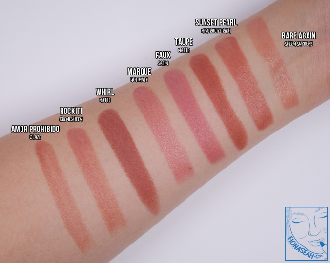 Swatch comparison for Sunset Pearl