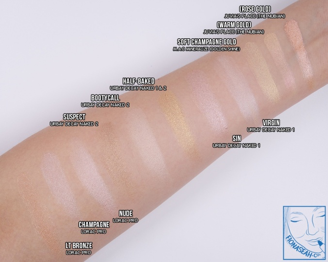 Swatch comparison for soft champagne gold