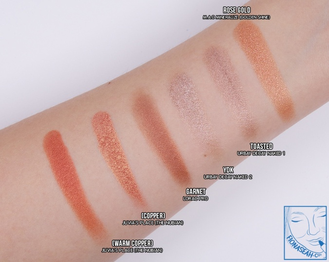 Swatch comparison for rose gold