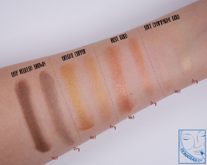 Swatches applied with wet and dry brushes