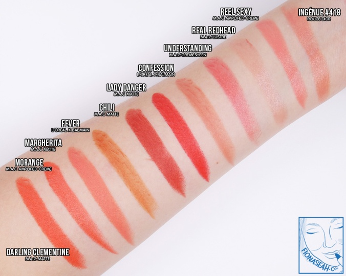 Swatch comparison against Fever & Confession