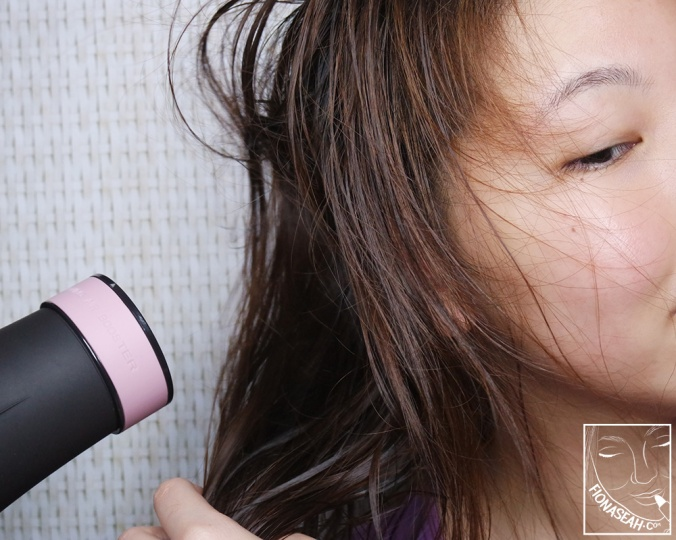Blow-drying to speed up the process (actually, I was just very eager to see how my hair would turn out LOL)