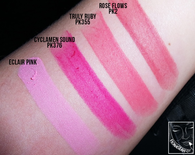 Swatched: Rose Flows, Truly Ruby, Cyclamen Sound, Eclair Pink