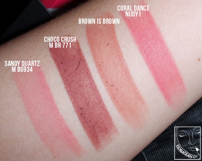 Swatched: Coral Dance, Brown is Brown, Choco Crush, Sandy Quartz