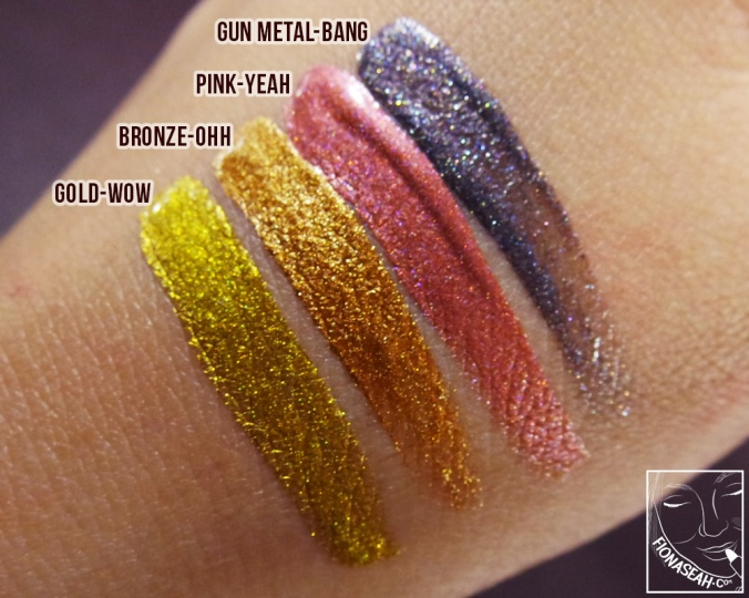 Swatched: Gun Metal - BANG, Pink - YEAH, Bronze - OHH, Gold - WOW