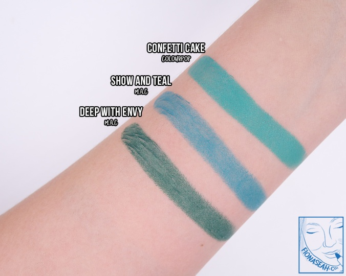 Swatch comparison for Confetti Cake