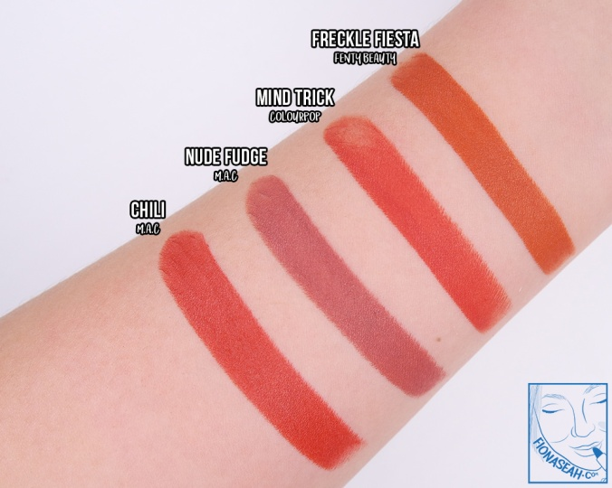Swatch and finish comparison for Freckle Fiesta