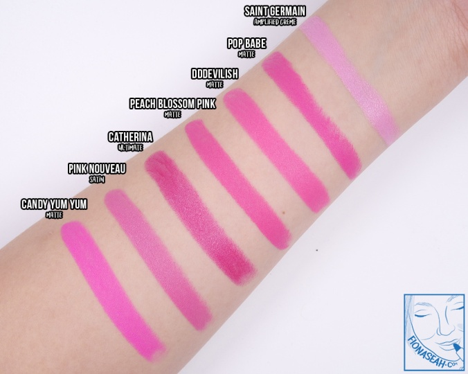 Swatch comparison for Pop Babe