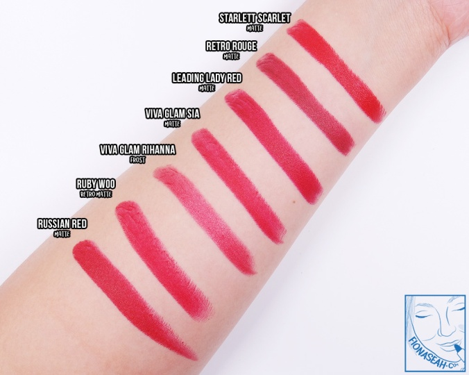 Comparing Viva Glam Sia with other popular red M·A·C lipsticks. Viva Glam Sia isn't too different from Ruby Woo, perhaps just a little warmer and definitely more moisturising