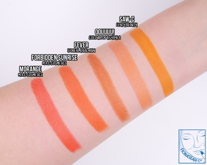 Swatch comparison for OOUUUU!, against the orange lipsticks I have