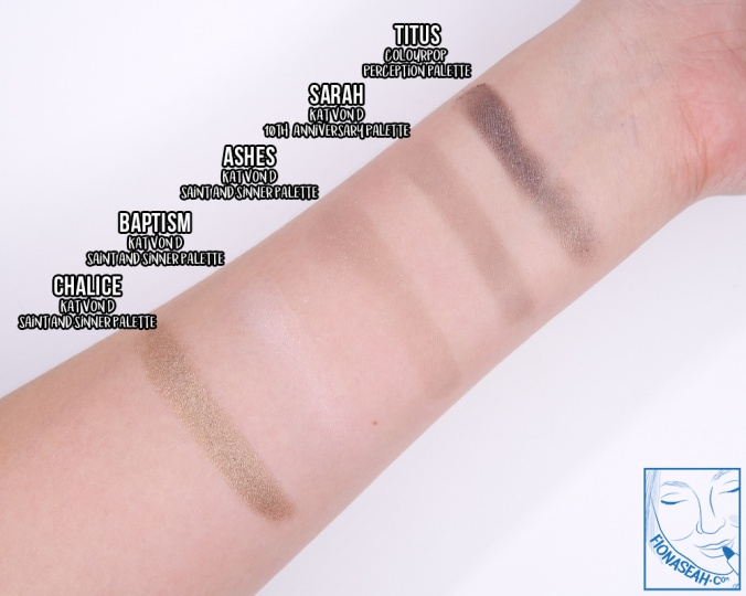 Swatch comparison for Sarah