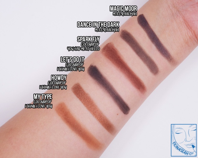 Swatch comparison for Magic Moor and Dance In The Dark