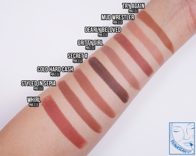 Swatch comparison for Try Again