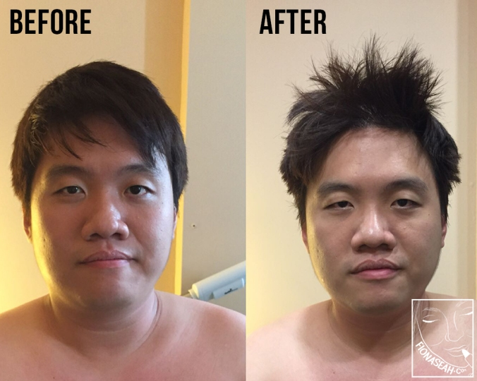 His before and after! More defined jawline, and a complimentary hair makeover XD