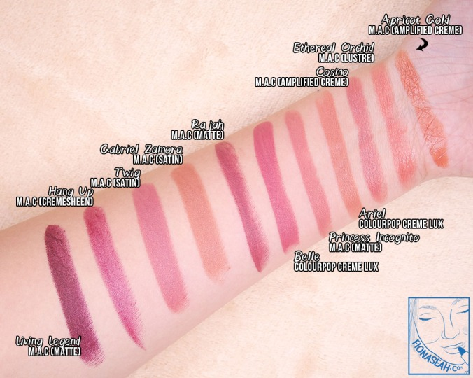 ColourPop Crème Lux Lipstick in Ariel (swatch comparison)
