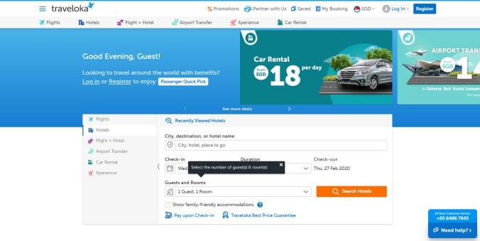 Traveloka site interface
